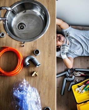 james fixing kitchen sink.
